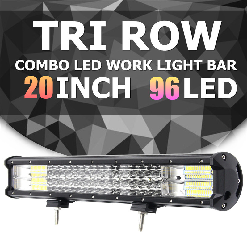 10-30V 288W LED Tri Row Work Light Bar Spotlight Flood Lamp Combo 20 Inch Driving Offroad LED Work Car Light For Jeep Boat IP67 spotlight flood lamp combo tri row 7d led work light bar driving fog offroad led car lights ip68 108w for suv atv truck