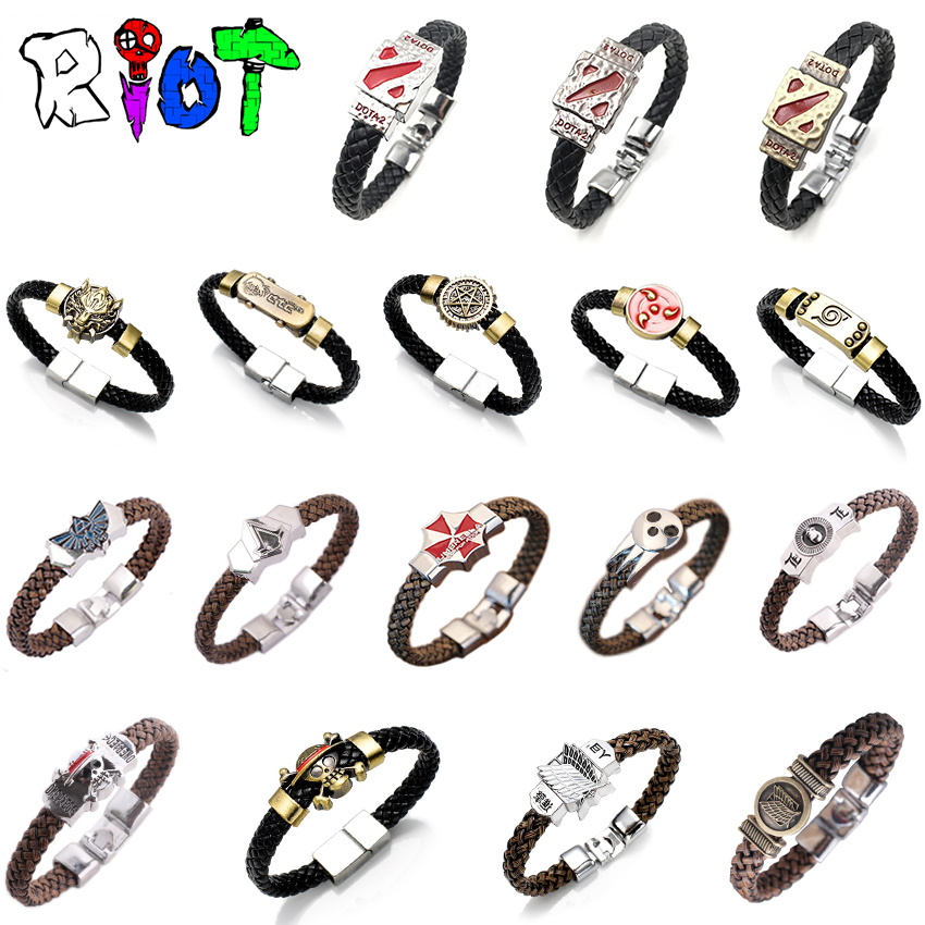 17 Styles Anime Cartoon Leather braided bracelet Woven bangles Attack on Titan Legend of Zelda Naruto One Piece charms fans gift