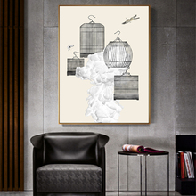 Canvas Painting Minimalist Birdcage Posters And Prints Wall Picture For Living Room Art Decoration Pictures