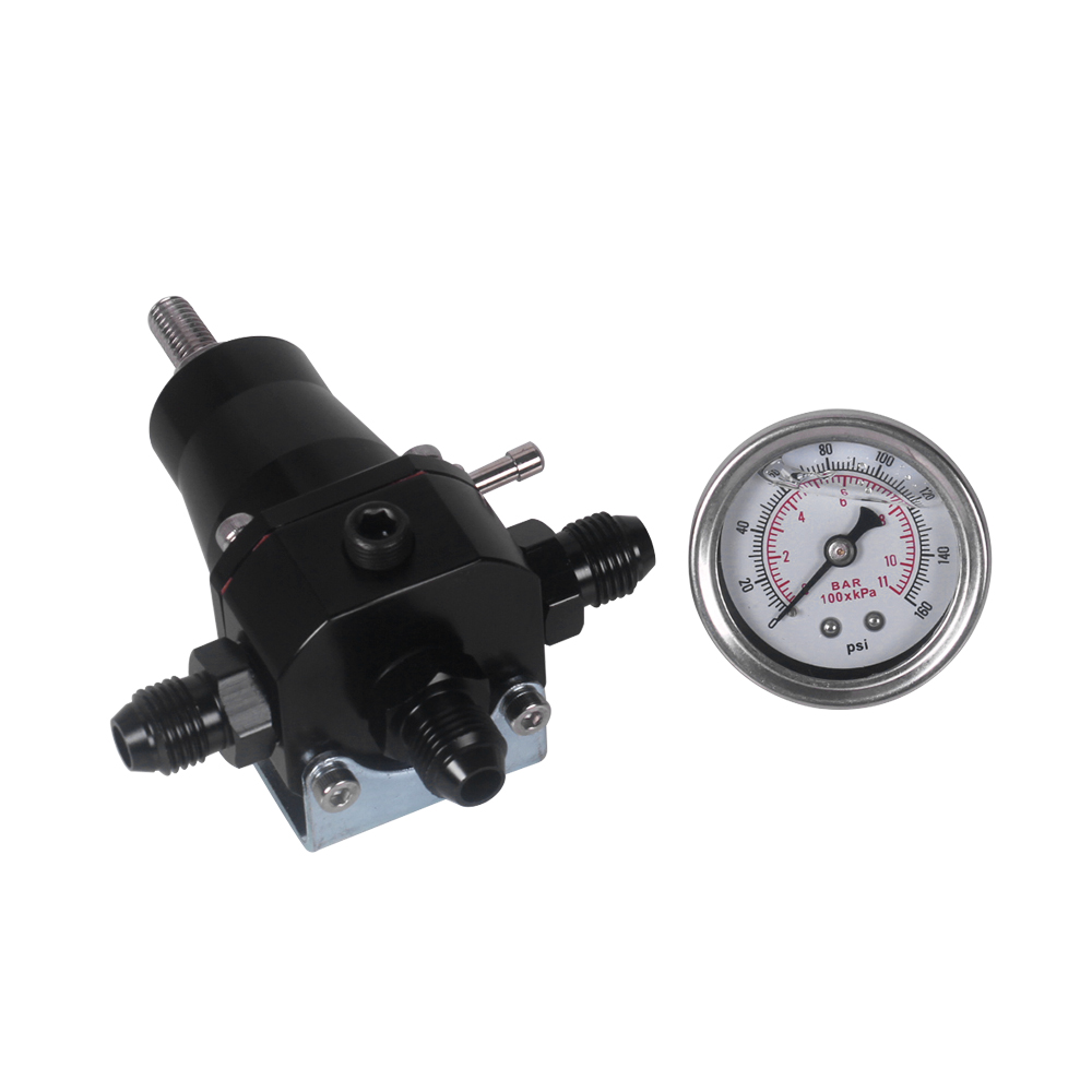 Universal Stainless Steel Fuel Pressure Regulator+Gauge+AN6 Fitting 30-70 PSI