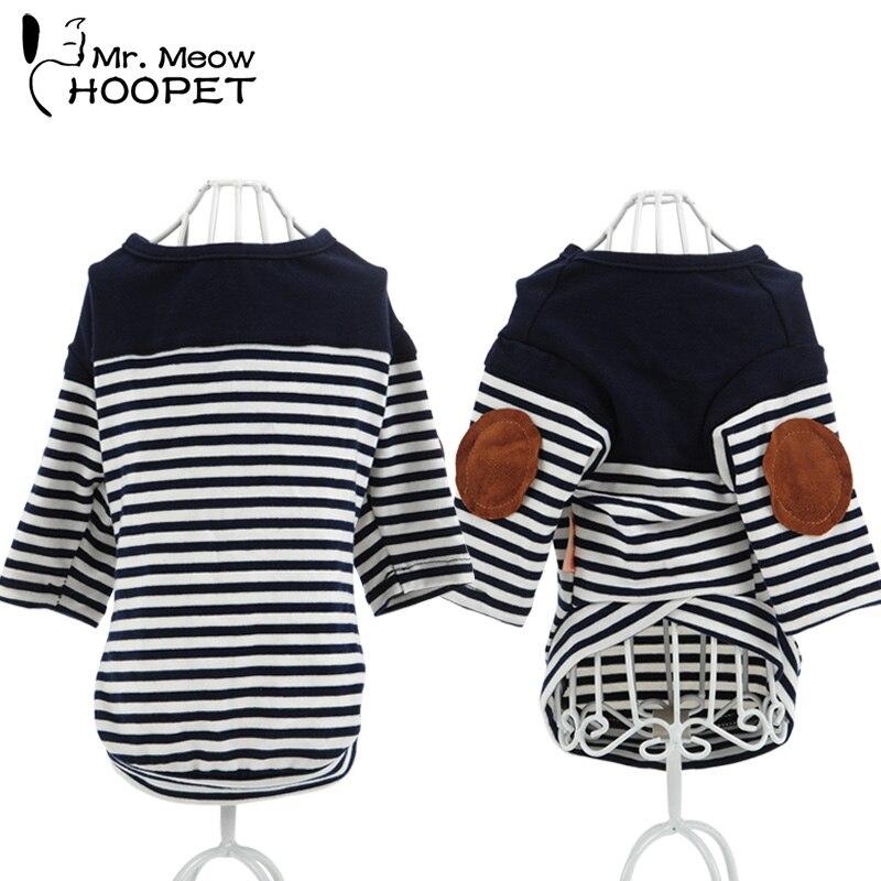 Fashion Pet Clothes Patch decorative Stripes Puppy Shirt Navy Cat Dog Dressing T shirt App