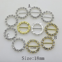 2017 NEW 10pc Bling Metal 18mm Round Rock Crystal Buckles Sliders For Transparent rhinestone Bags Ribbon Buckle For Bridal Gowns