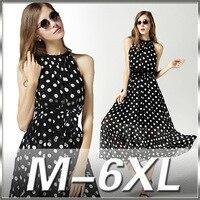 Verão 2016 nova Dot impressão Chiffon plus size vestido maxi Boêmio elegante super grande 6XL Praia quente Vestido preto vestido estilo solto