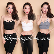 FREE SHIPPING 2016 Autumn New Arrival SPECIAL OFFER Sexy All Match Knitted White Gray Black Low Cut V Neck Short Camis Women