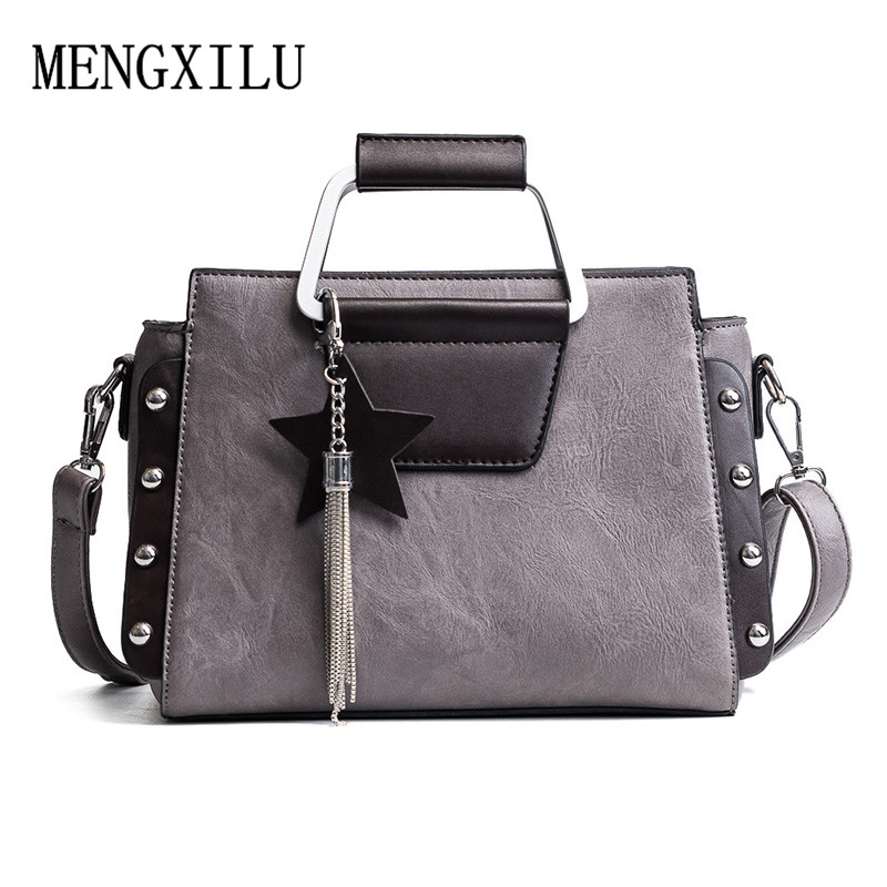 Women Pu Leather Handbags ladies Shoulder bags Designer Brand Patchwork Rivet Tote Top-Handle Bag female Tassel Messenger Bag women bag 2015 genuine pu leather bags ladies handbags brand women leather handbags women shoulder bag tote bag b30