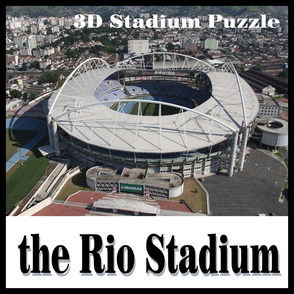 3D puzzle football stadium The Rio stadium  puzzle model Games Brazil Stadium souvenir Toys Halloween Christmas brazil football fans caxirola cheer horn for 2014 brazil fifa world cup