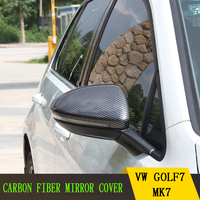 For VW Volkswagen Golf 7 MK7 VII Car side Door Rearview wing mirror Exterior Cover Carbon Fiber Replacement Install