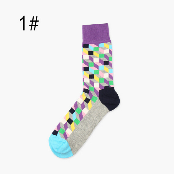Underwear ... Men's Socks ... 32384414419 ... 2 ... Hot ! New  socks style 3D colorful Square cotton socks for men women Gentleman men's sock big size EUR 37-46 HP08 ...