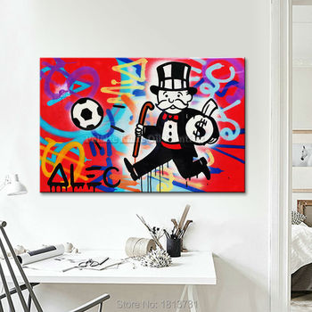 Alec Graffiti pop art painting street art urban art money art on canvasWall pictures for living room Home Decor wall decoratior1