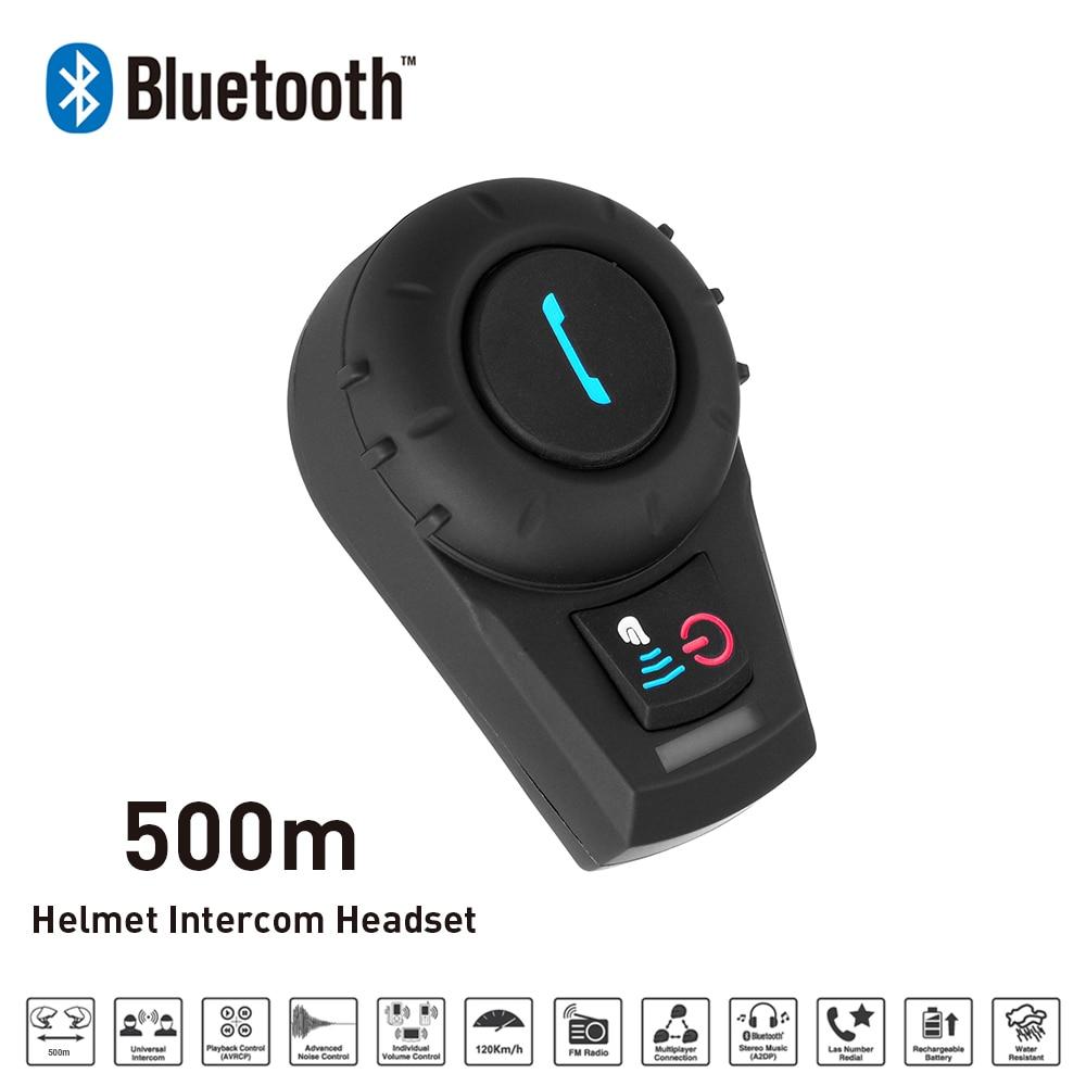 sale new 500m bt bluetooth fm radio motorcycle helmet intercom interphone headset. Black Bedroom Furniture Sets. Home Design Ideas