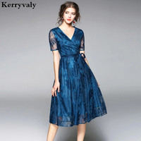 Summer Peacock Blue Lace Dress Womens Dresses New Arrival 2018 Robe Dentelle Ukraine Vintage Gatsby Dress