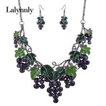 Fashionable Choker Jewelry Sets Women Grapes Rhinestone Pendant Necklace Earrings Set Statement Pendant Chain Accessories N40341