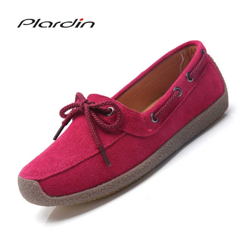 Plardin Yeni Sonbahar Kadın Ayakkabı Oxford Ayakkabı Rahat Daireler Ayakkabı Kadın Deri Süet Tekne Ayakkabı Yuvarlak Ayak Daireler Mokasen