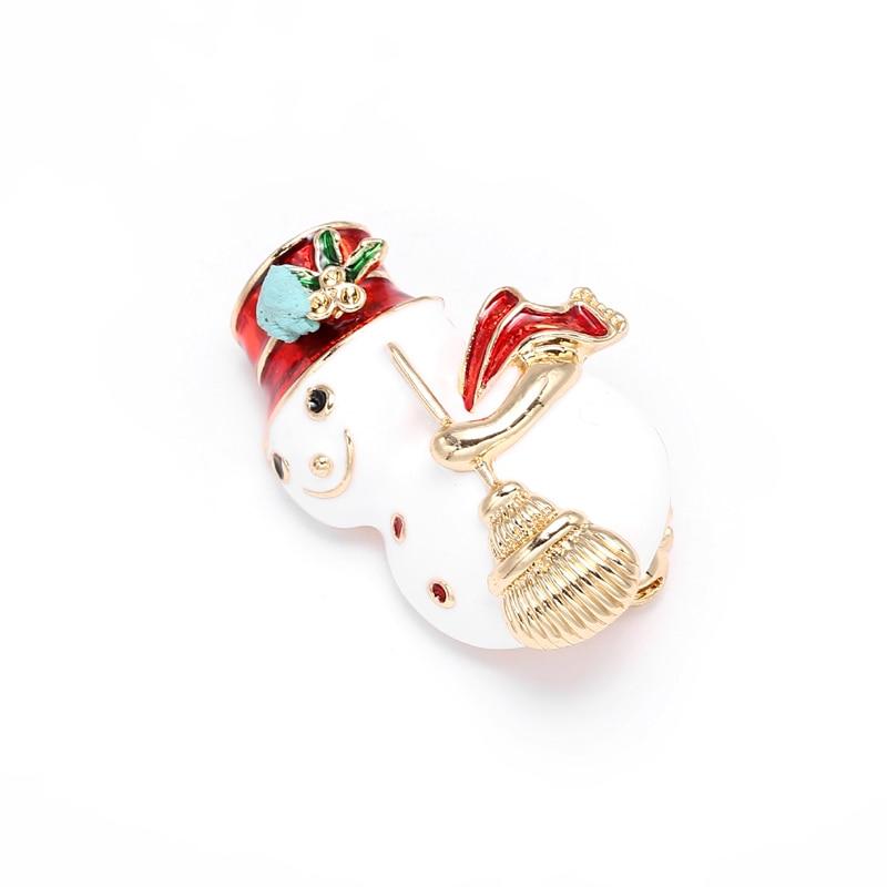Boosbiy DIY Cute Snowman Accessories Simulated Crystal Rhinestones Enamel Brooches for Women Brooch Pins Jewelry