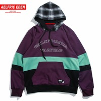 Aelfric Eden Autumn 2018 Men Street Wear Hoodies Sweatshirts 3 Colors Patchwork Pullover Plaid Cap Hooded Hip Hop Hoodie Mt19