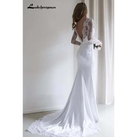 Sexy Lace Long Sleeve Mermaid Wedding Dress With Sweep Train Lace beach Bridal Gowns white Vestido De Noiva