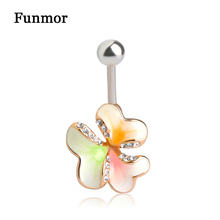Fashion Flower Enamel Esmaltes Crystal Belly Button Rings Gold-color Bar Piercing Umbigo Jewelry Navel Women Beach Bikini(China)