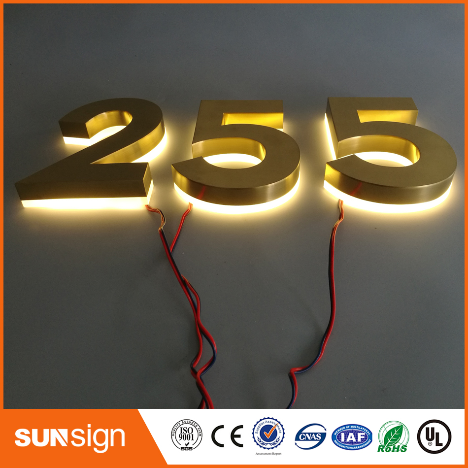 Stainless Steel Backlit Sign Shop Front Signage LED 3D Illuminated Letters Signs For Advertising Customized