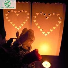 30 pcs/3packs Heart Tea light Holder Luminaria Paper Lantern Candle Bag For BBQ Christmas Party Wedding