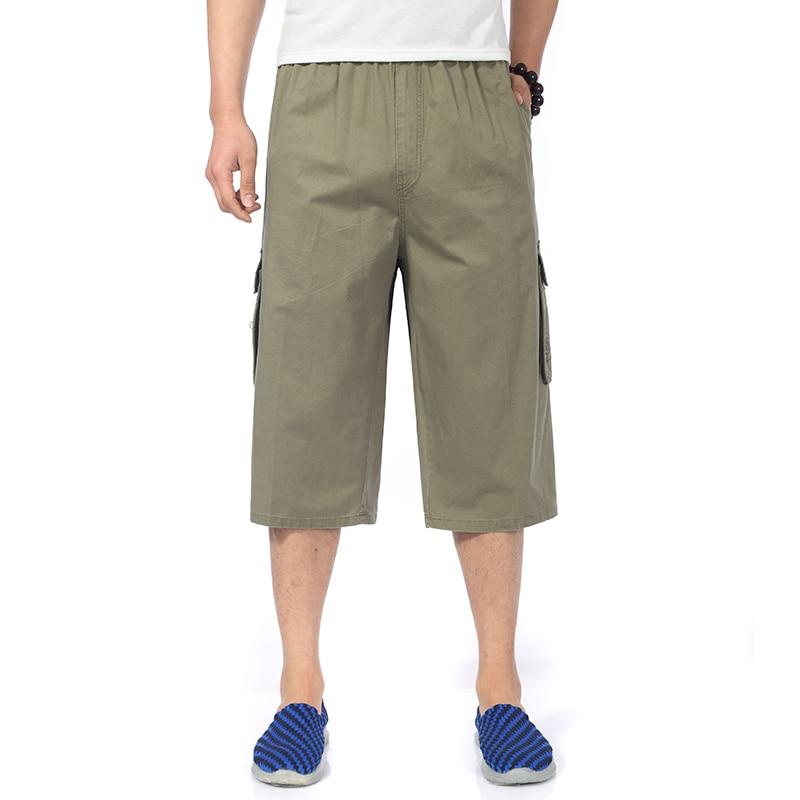 Spring Summer Man Cotton Middle Bottom Khaki Gray Comfort Shorts Men Casual Elastic Band Waist Shorts Mans Pocket Short Bottoms