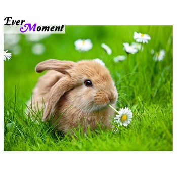 Ever Moment Diamond Painting Cross Stitch Rabbit Handmade Full Square Drills Mosaic Diamond Embroidery 5D DIY Decor S2F1886