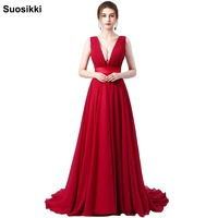 Chiffon Evening Dress Long Double V Neck Cheap Evening Party Sleeveless Prom Party Formal Dresses
