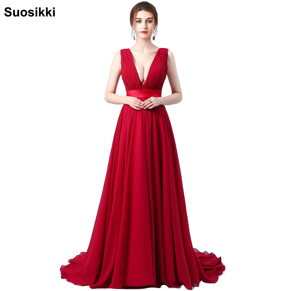 Suosikki Chiffon   Evening     Dress   Long Double V Neck Cheap   Evening   party Sleeveless Prom Party Formal   Dresses   Gown
