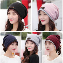 Cotton Fall Striped Slouchy Beanie For Women Solid Girl Ponytail Beanie Winter Hats Dual Use Cap Scarf Spring Autumn Turban Hat(China)