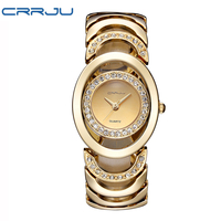 Luxury Brand CRRJU Quartz Watch Women Gold Steel Bracelet Watch 30M Waterproof Rhinestone Ladies Dress Watch