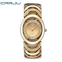 Luxury Brand CRRJU Quartz Watch Women Gold Steel Bracelet Watch 30M Waterproof Rhinestone Ladies Dress Watch