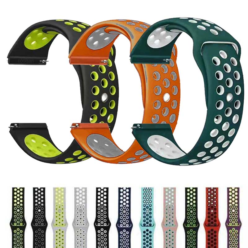 22mm Silicone Sport Band For Samsung Galaxy Watch 46mm SM-R800NZSAXAR 20mm Amazfit BIP Strap For Galxy Watch 42mm Wristband