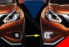 for Nissan Murano Front Fog LED DRL Running Daytime Light Lamp Kit 15-16 3 5 90mm round led fog light daytime running lamp led chips fog lamp drl lightings lens for peugeot 308 2011 12 2013 14 15 16