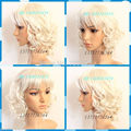 New Short Platinum Blonde Wigs Curly Women's Wig queen Kanekalon hair no lace front wigs fast deliver 26% discount