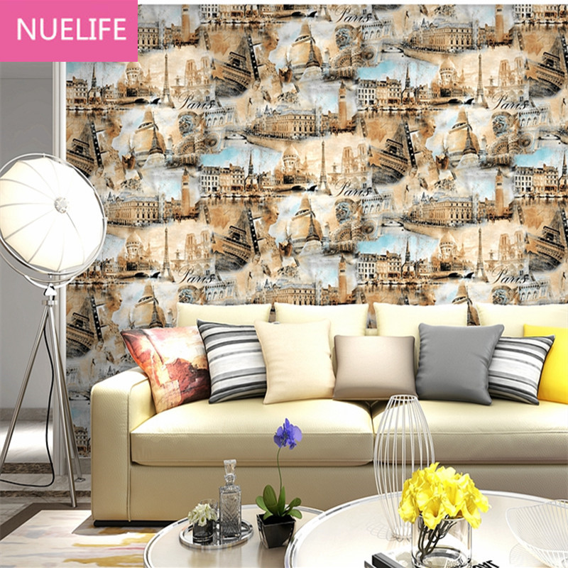 Buy 0.53x10m industrial wind city landmark pattern wallpaper living room bedroom hairdress clothing shop office wallpaper