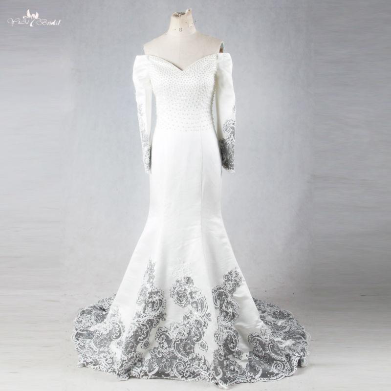Rse678 cabo largo vestido blanco y negro 2 unidades sirena Vestidos de novia 19d6a0241d3a