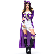 New Arrival Womens Purple Pirate Costume Halloween Adult Performance Party Cosplay Clothing