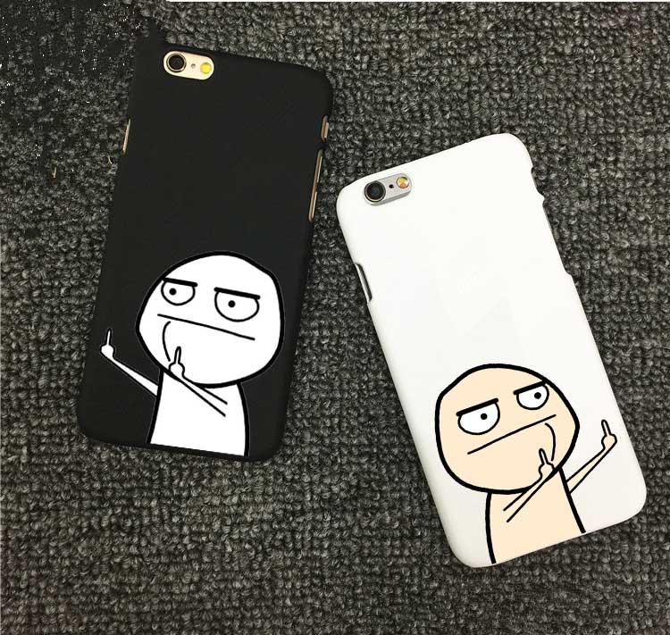 Funny Cartoon Middle Finger Case For iphone X Case For iphone 7 7 Plus 8 8Plus 6 6S Plus 5 5S Back Cover Classic Black Capa