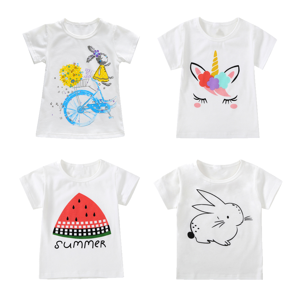 2018 Cotton Kids T-Shirt Children Summer Short Sleeve T-Shirts for Boys Girls Clothes Cat Rabit Baby Boy T Shirt Toddler Tops 2017 children clothes kids t shirts adventure time 100% cotton white t shirt for boys and girls tops baby tshirt free shipping