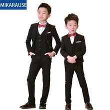 5PCS Kids Boys Suits Black Blazers Formal wedding Tuxedos Teenage Party Clothes Toddler Baby Clothing Flower Boy Blazer Suit Set(China)