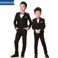 5PCS Kids Boys Suits Black Blazers Formal wedding Tuxedos Teenage Party Clothes Toddler Baby Clothing Flower Boy Blazer Suit Set
