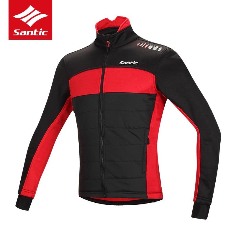 цена Santic Cycling Jacket Men Winter Thermal Fleece Bike Coat Windproof Keep Warm Road Bicycle Clothing Downhill Ropa Ciclismo онлайн в 2017 году