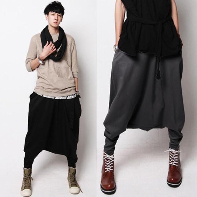 Envío gratis 2015 hombres pantalones harén pantalones sueltos yardas grandes de corea hip-hopcollapse cambio descendente otoño