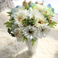 7 Bunch/ Bouquet Silk Flowers Artificial 2 Colors Gerbera Fake Leaf Bridal Bouquets Decoration