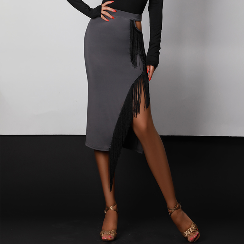 Gray Latin Dance Skirt For Women Sexy Fringe Skirts Ballroom Dancing Practice Wear Samba Rumba Tango
