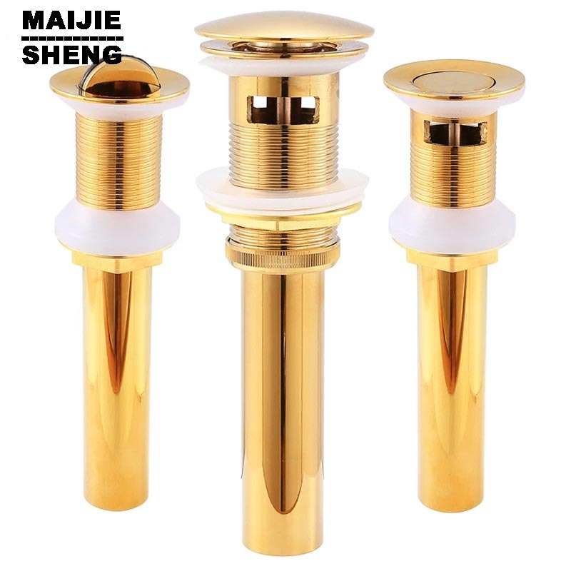 Good Solid Brass Bathroom Lavatory Sink Pop Up Drain With overflow  basin sink drain Gold bathroom parts faucet accessories