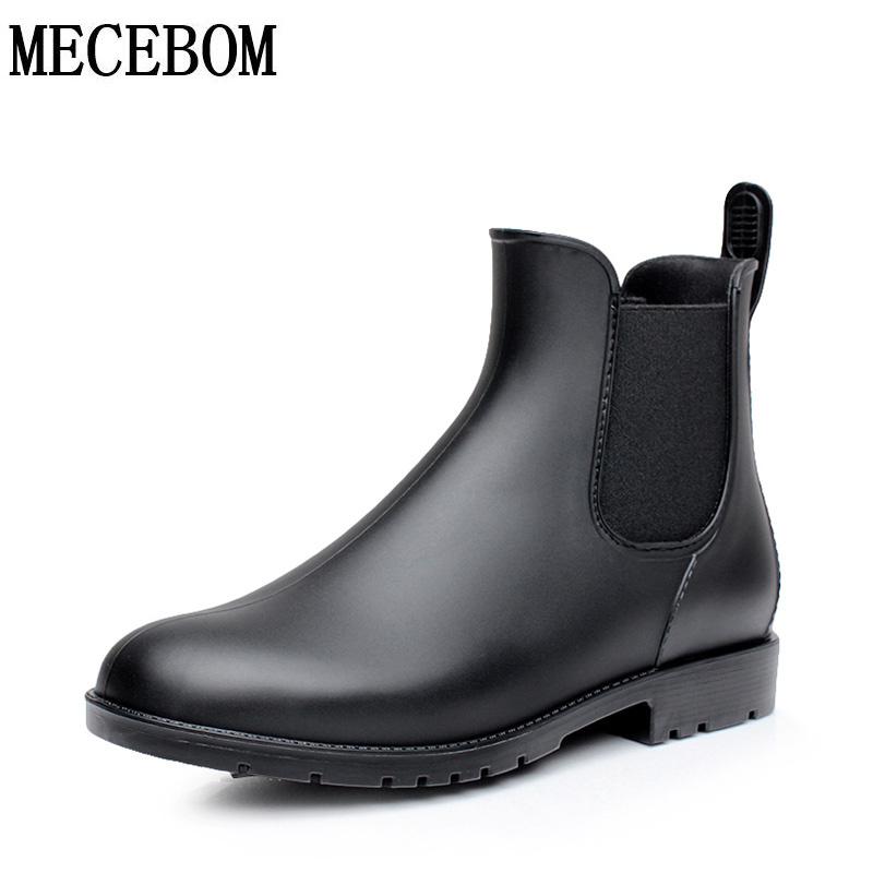 Men Rubber Rain Boots Fashion Chelsea Botas Hombre Casual Slip On Waterproof Ankle Boots Moccasins Zapatos