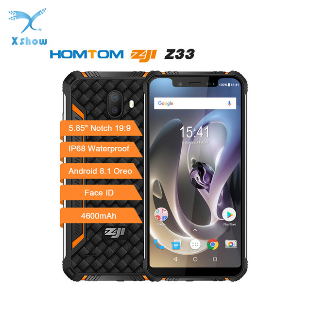 HOMTOM ZOJI Z33 Rugged Mobile Phone MT6739 1.5GHZ Quard Core 3GB 32GB 4600mAh 5.85Inch Dual sim Android 8.1 OTA OTG Face Unlock