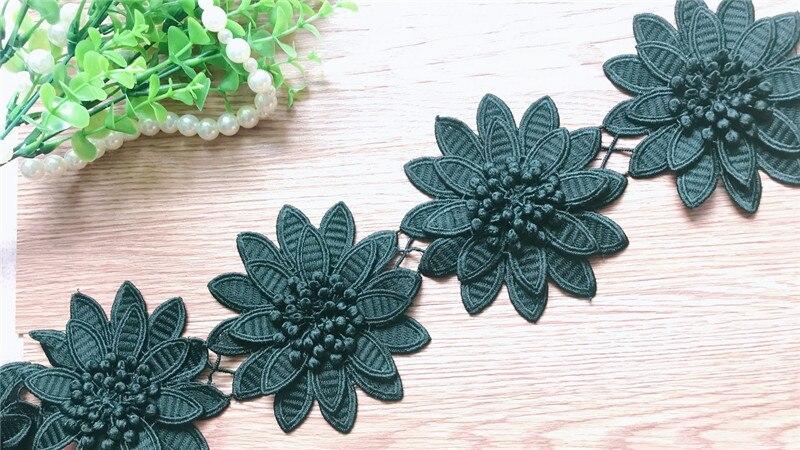 Diy costura suprimentos artesanato para decoração de traje, 3d floral stamen preto bordado venise tecido solúvel em água renda trim10yards