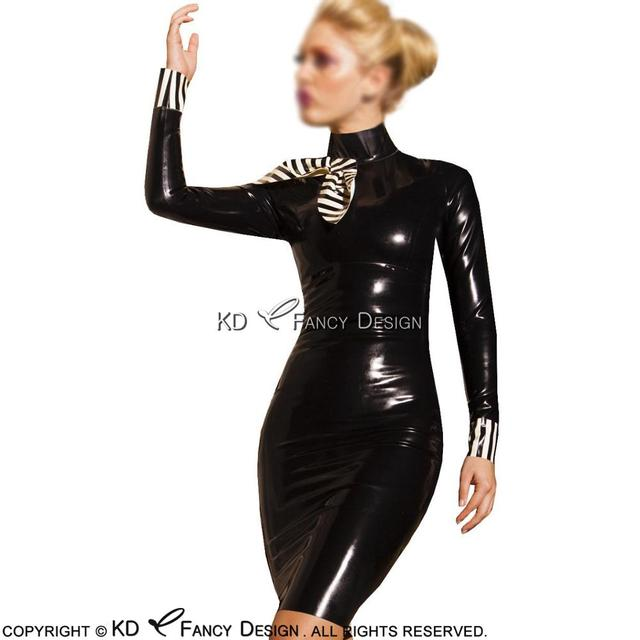 Black With White Sexy Latex Dress With Bow Stripe Cuffs Zipper At