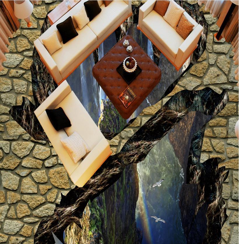 3D Floor Murals Waterfall peaks Wallpaper Self adhesive Waterproof-Wallpaper-For-Bathroom Vinyl Flooring Tile high quality pvc tile flooring custom self adhesive waterfalls lotus carp 3d floor murals bathroom kitchen wallpaper 3d floor